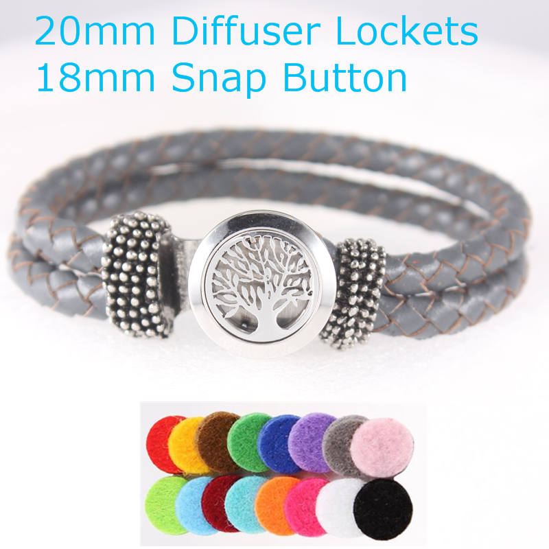 2017 New Design 20MM Stainless Steel Crystal Tree of Life Diffuser Locket 18mm Snap Button Genuine Leather Bracelet For Woman