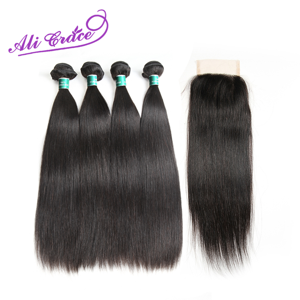 Ali Grace Peruvian Straight With Closure 100 Remy Human Hair 4 Bundles With 4 4 Free
