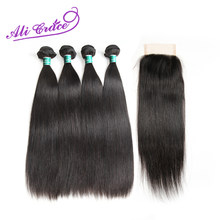 Ali Grace Peruvian Straight With Closure 100% Remy Human Hair 4 Bundles With 4*4 Free Middle Part Lace Closure Free Shipping(China)