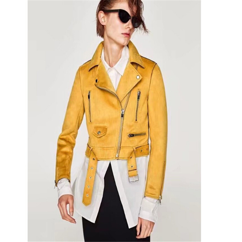 Tang ku 2018 New Autumn Women   Suede     Leather   Jacket Women Slim Short Design Faux   Leather   Jacket Yellow Punk   Leather   Outwear Coat