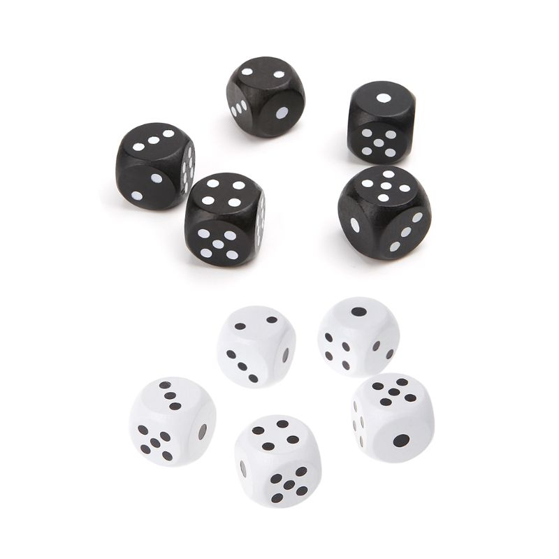 5pcs 20mm Round Corner Wood Dice For Bar Nightclub Party RPG Board Game Kid Toys