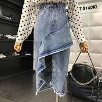 2018 Spring New Arrival Women Personality High Waist Vintage Pure Color Denim Ruffles Asymmetrical Length Casual Pencil Skirts
