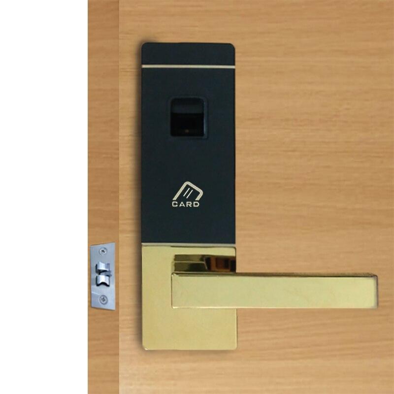 Biometric Door Lock Fingerprint, 4 Cards, 2 Keys Electronic Intelligent Lock Keyless Smart Entry lk10FBS one for five electronic door lock bluetooth biometric smart fingerprint electronic lock for outdoor entry door