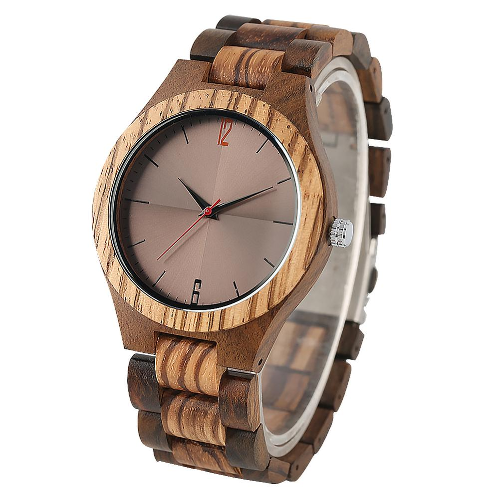 Wooden Quartz Watches  Men Luxurious Ebony Zebra Wood Watch Boy Fashion Luxurious Ebony Zebra Classic Wristwatch часы мужские(China)