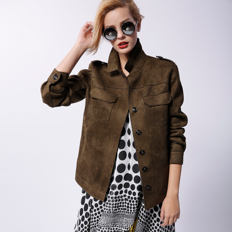 2015 spring and Autumn New Europe loose uniform wind suede