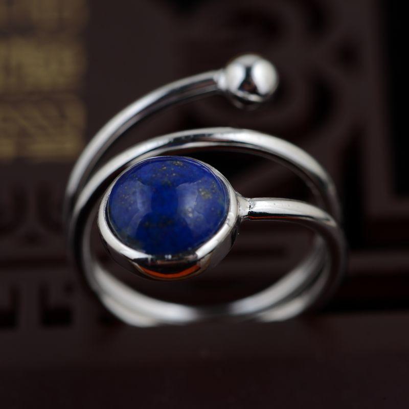 Индии napel натуральный Лазурит 925 чистый Серебряные кольца для Для женщин девочек ручной работы больше кругов подарок кольцо тайский Серебря...