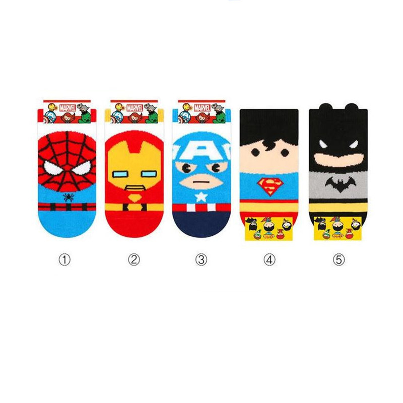 Superman Spider-Man Captain America Iron Man Batman Cosplay Socks Children Anime Cotton Christmas Party Halloween For Kids Boys