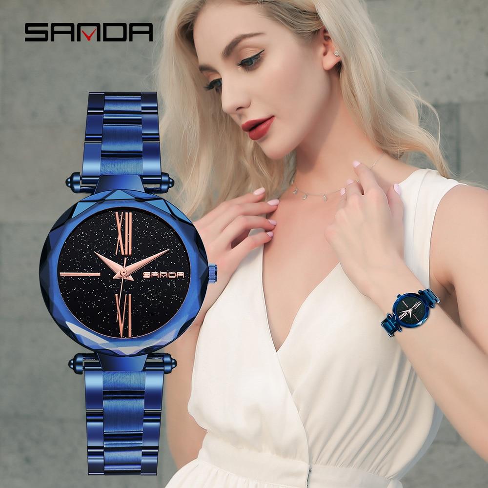 Famous luxury brand Sanda fashion quartz female watch starry steel belt ladies watch with waterproof quartz woman watch Relogio