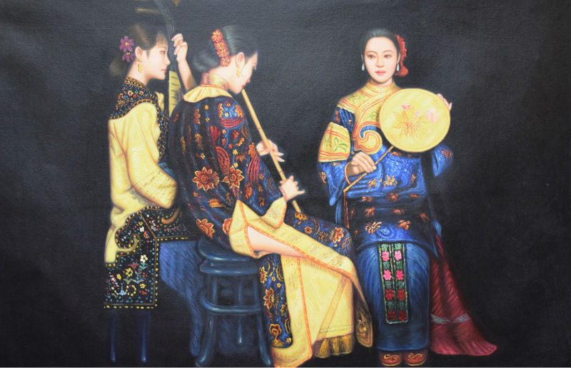 100%Hand Painted Figure Oil Painting on Canvas Chinese Court figures Canvas Painting Wall Art Picture Painting for Living Room