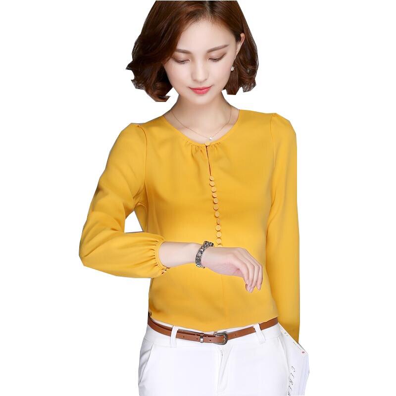 Más el Tamaño Blusa de La Gasa Camisa Blusas de Las Mujeres 2017 Del Otoño Del R