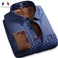 Langmeng 2016 Súper cálido invierno camisa de Los Hombres camisa masculina engrosamiento de terciopelo a cuadros informal camisa de vestir de manga larga comercial masculina caliente