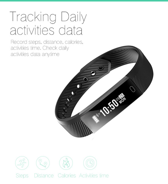 DAWO Fitness Watch Pedometer Fitness Bracelet Passometer Smart Bracelet 115 Smart Band Hembeer Step Counter Smart Band 1