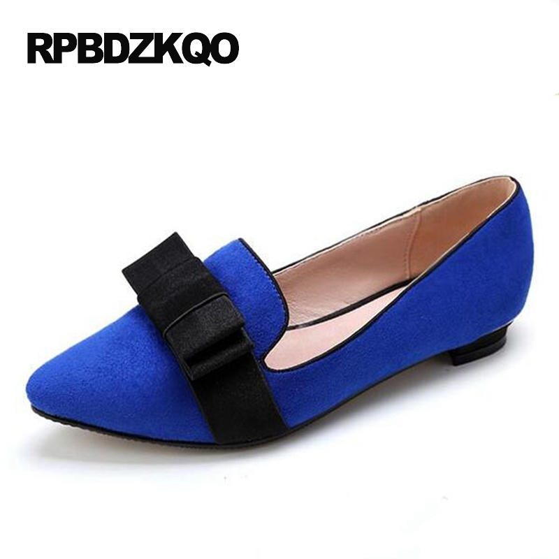 Size 42 Slip On Bow Women Dress Shoes Flats Plus Party Blue 11 Large Loafers Ladies China Pointed Toe Chinese Suede Latest bow elastic round toe women slip on latest suede flats big designer shoes china chinese fashion beautiful european drop shipping