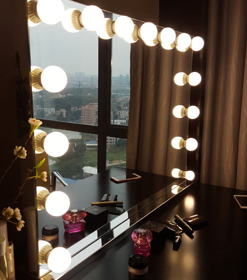 Frameless Vanity Mirror With Light Hollywood Makeup Lighted