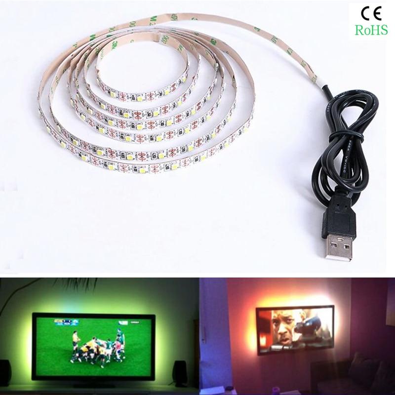 KINLAMS 5V 50CM 1M 2M 3M 4M 5M USB Cable Power LED strip light lamp SMD2835 Christmas Desk Lamp Tape For TV Background Lighting