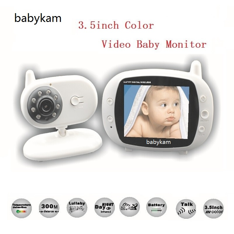 Babykam radio babysitter 3.5 inch LCD Temperature monitor Lullabies IR Night vision Intercom baba electronics video babysitting wireless 2 4 lcd color baby monitor high resolution lullabies kid nanny radio babysitter night vision remote camera newborn gift