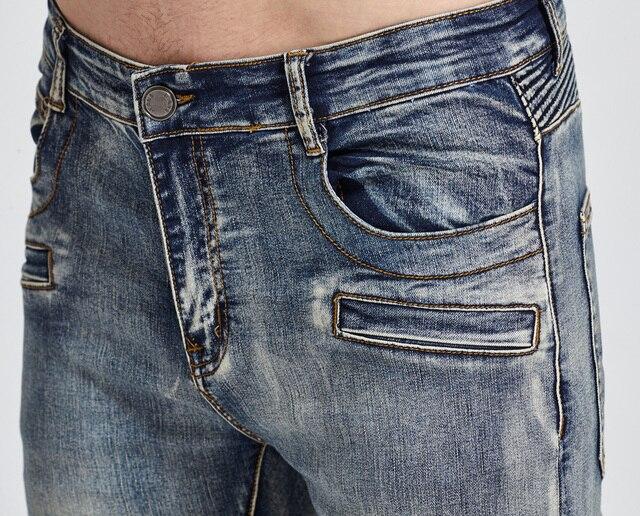 2017 Men Jeans Design Biker Jeans Skinny Strech Casual Jeans For Men Good Quality H1703 5