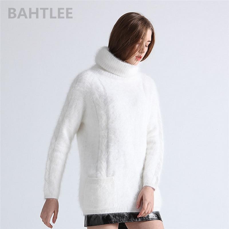 Bahtlee 겨울 여성 앙고라 풀오버 점퍼 스웨터 터틀넥 밍크 캐시미어 뜨개질 포켓 긴 소매 따뜻한 루스 피어 유지-에서풀오버부터 여성 의류 의  그룹 1