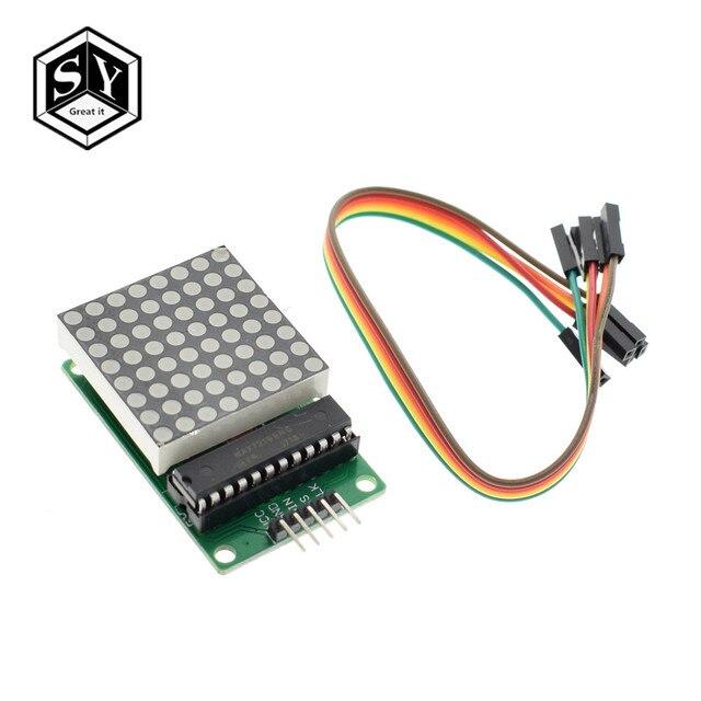 8x8 8*8 MAX7219 Dot Led Matrix Module MCU LED Display Control Module For Arduino 5V Interface Module Output Input Common Cathode