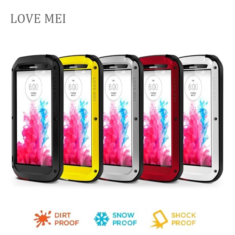 bilder für Liebe Mei Wasserdichte Stoßfest Gehärtetem Gorilla-glas Metallaluminiumkasten-abdeckung Für lg g3 Drei proofing phone cases