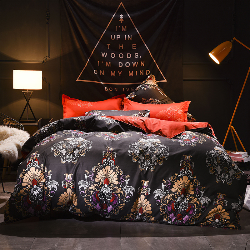 Vintage luxury Polyester bedding sets Duvetcover Setwinter Flat bedsheet Pillowcase Queen king Bedlinen Bedclothes sj118