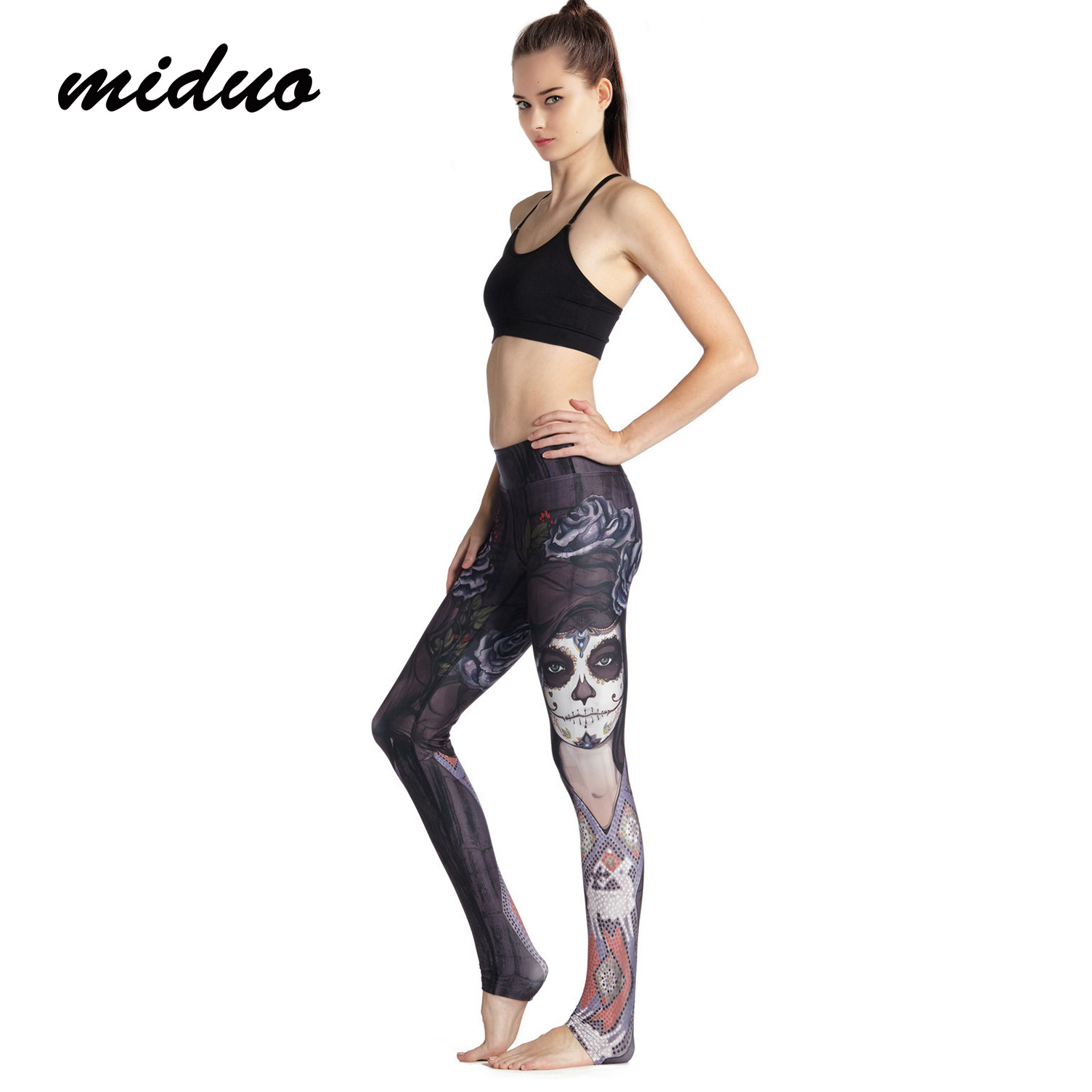 424cd2f641503 Women's Sportswear Gym Elasticity Printed Witch Yoga Pants Black Rose  Running Sports Tights Flower Sorceress Fitness Leggings