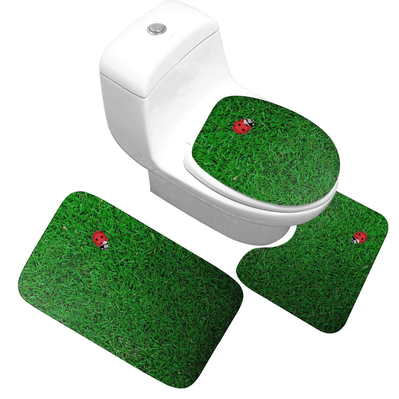 Honlaker Green Grass Ladybug Pattern Bath Mat 3 Sets Washing Does Not Fade Bathroom Rug Toilet Cover Non-slip Bath Carpet