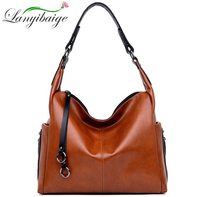 Luxury Handbags Women Designer Bags Leather Shoulder Bag Female Leisure Casual Handbags Messenger 2019 Vintage Top-handle bags