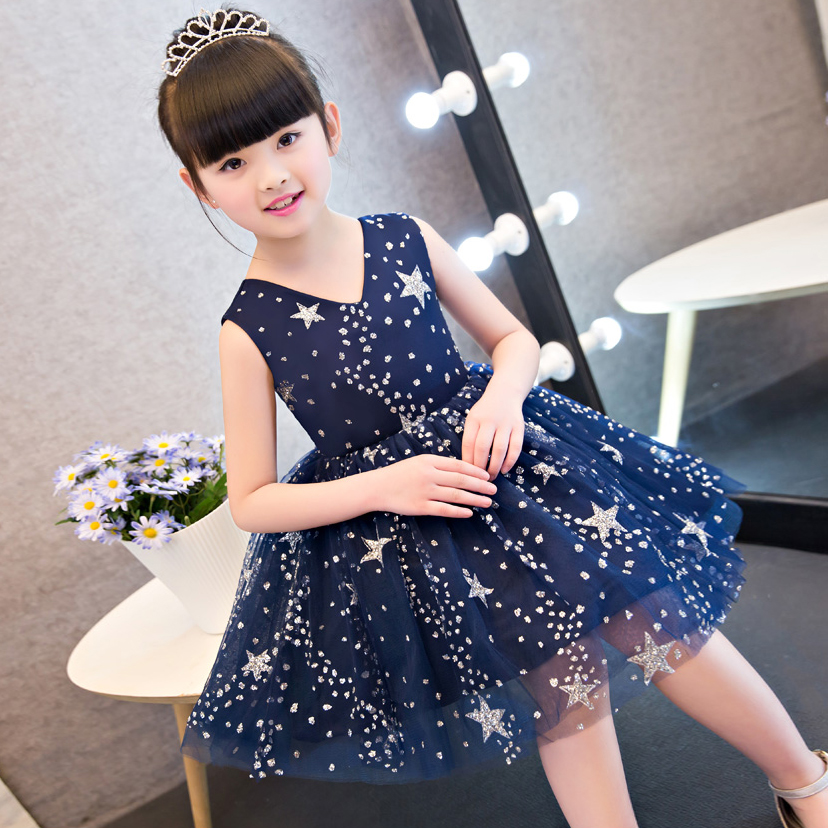 2017 New Korean Sweet Elegant Girls Children Evening Party Princess Ball Gown Dress Summer Children Kids Wedding Birthday Dress new arrival fashion summer girls kids sleeveless flower dress elegant sweet children girls knee length ball gown dress