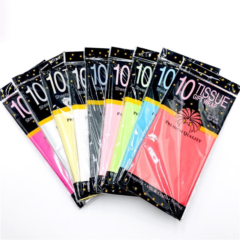 50*66 cm Décoratif Origami Froissé Crêpe Papier Artisanat 10 feuilles/pack DIY Fleur Emballage Fold Scrapbooking Cadeaux partie Décoration