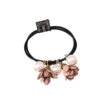 M MISM Cute Flower Simulated Pearls Elastic Hair Bands For Baby Girls Rope Ponytail Holder Kids Accessories Scrunchy