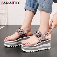 SARAIRIS 2019 Brand New Polka Dot Ladies Wedges High Heels Platform Women Shoes Woman Casual Party Ol Summer Sandals