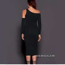 Black Party Fashion Sping Dress Long Sleeve Hollow Out Front Strapless Off Shoulder Nightclub/ Evening