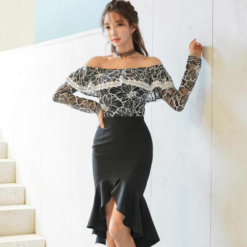 100% Quality 2019 Spring Two Piece Slash Neck Sets Slim Lace Blouse Shirt Bodycon Black Fishtail Skirt Sexy Party Suit Dress