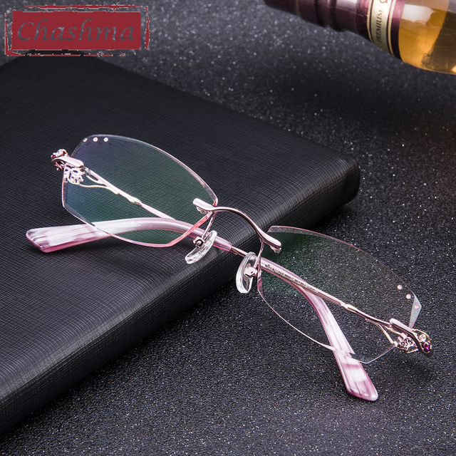 aa4d4d5597 Chashma Titanium Fashion Female Eye Glasses Diamond Trimmed Rimless  Spectacle Frames Women Eyeglass Frame Colored Lenses