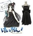 Бесплатная Доставка K-ON! Mio Акияма Черное Платье Аниме Косплей Костюм