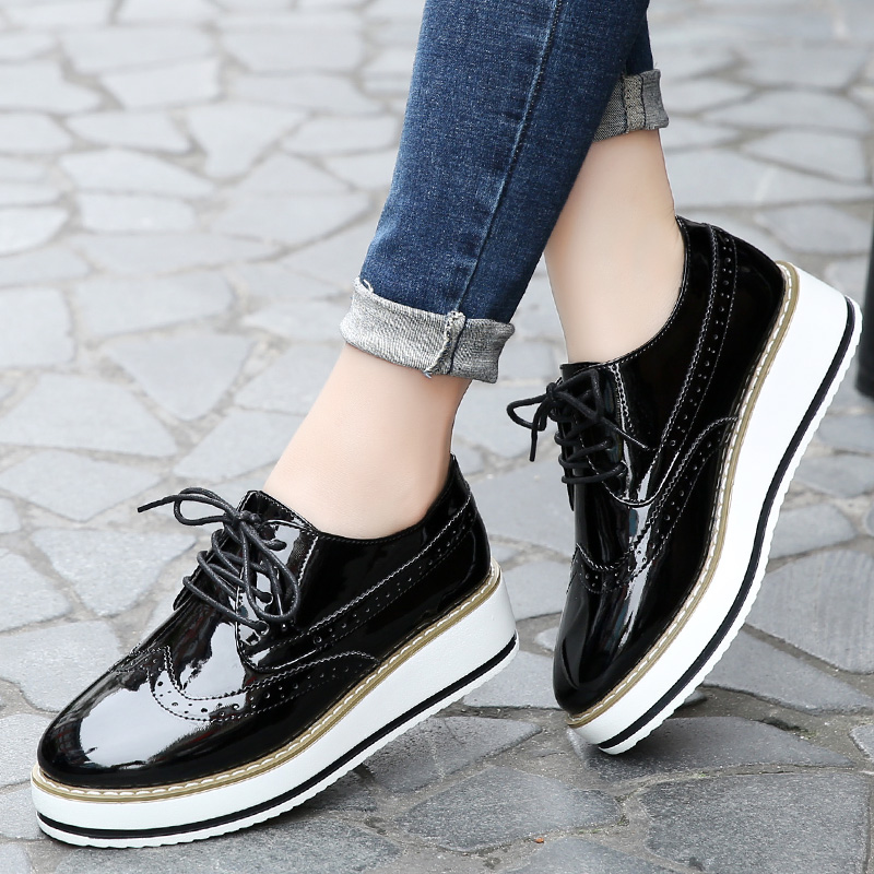 Women brogue shoes fashion Height 4.5cm increasing shoes for lady casual platform shoes lace-up flats sapato feminino d803w summer women shoes casual cutouts lace canvas shoes hollow floral breathable platform flat shoe sapato feminino lace sandals