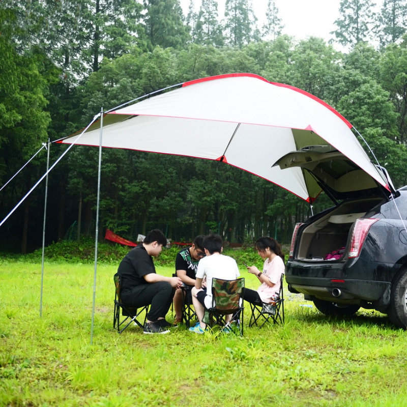 Outdoor 5-8 Person Car Tent With Aluminum Alloy Pole Portable Car Awnings Tent Tarp Sun Shelter For Camping Fishing