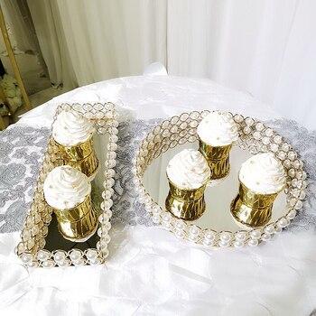 металлические подносы еды   Элегантное жемчужное ожерелье с подставка для торта лоток для пирожных романтическое свадебное украшение для стола десерт, капкейк фрукты ...