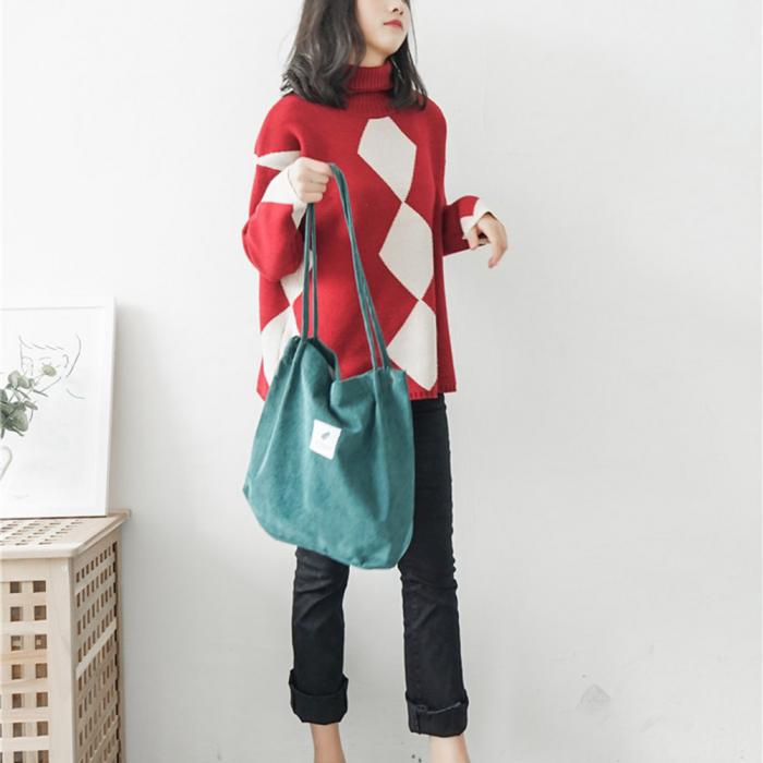 High Capacity Women Corduroy Tote Ladies Casual Shoulder Bag Foldable Reusable Shopping Beach Bag WML99 21