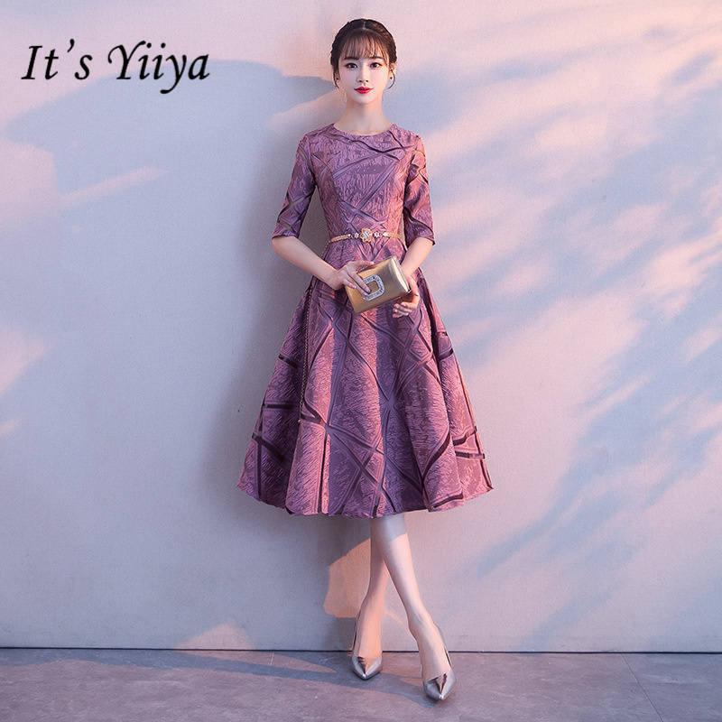 It's YiiYa New O-neck Half Sleeve Bridesmaid Dresses Fashion Back Lace A-line Tea-length Dress H135