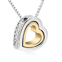 New Sales Hot Austrian Crystals Heart in heart fashion crystal pendant necklace crystal from Swarovski jewelry for women QS10477