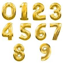 1pc 16inch 실버 & 골드 번호 0-9 호일 풍선 디지털 baloes 신년 생일 이벤트 파티 용품 웨딩 장식