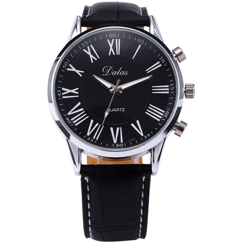 0daa5c87d72 Hot New Masculino Relógio Dos Homens de Luxo Casuais Faux Pulseira De Couro  Analógico Relógio de Quartzo-Preto Rodada Caso Relógio de Pulso Relojes ...