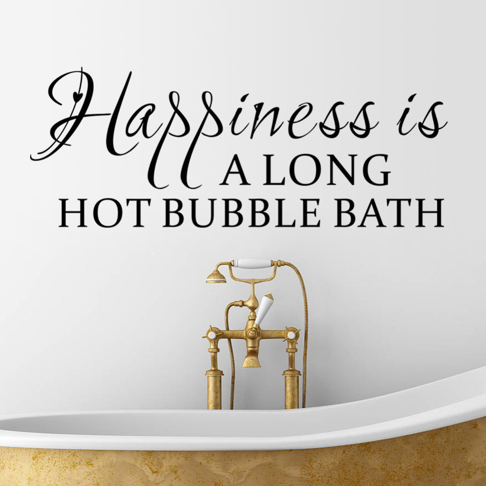 Bathroom wall decor quotes - Happiness Is Long Bubble Bath Waterproof Removable Vinyl Wall Art Decal Stickers Decorative Bathroom Quote Decals