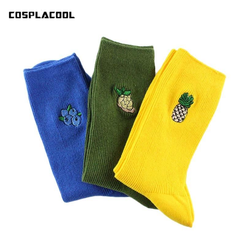 Korean Embroidery Fruit Pineapple Grapes Blueberries   Socks   Women Kawaii Print Funny   Socks   Cute Cartoon Long   Socks   Harajuku Sox