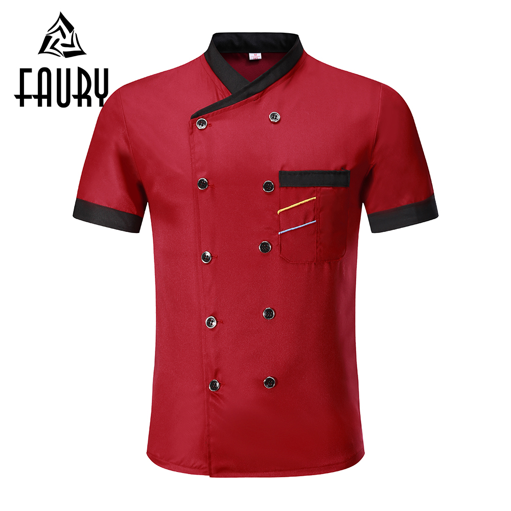 Unisex Oblique Collar Double Breasted Short Sleeve Stitching Color Restaurant Uniform Breathable Food Service Chef Jackets Apron