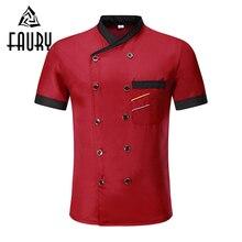Unisex Collar Sintetis Double Breasted Short Sleeve Jahitan Warna Restoran Uniform Bernafas Perkhidmatan Makanan Chef Jackets Apron