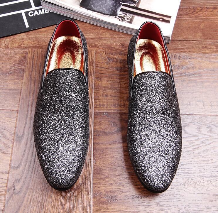 Conduite Robe Casual Mocassins Paillettes Rond Bout Chaussures Loubuten Low Superstar Black Hommes Top Glitter Cuir En Appartements silver Zapatillas q8x8ta