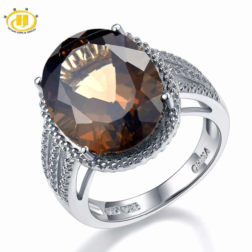 HUTANG Wedding Rings 8.3ct Natural Smoky Quartz Solid 925 Sterling Silver Cocktail Ring Gemstone Fine for Women's Girls Gift New
